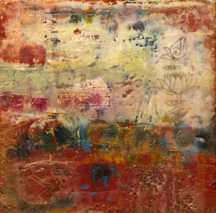 "Tidal Flats (2012) encaustic on wood panel, 12"" x 12"""