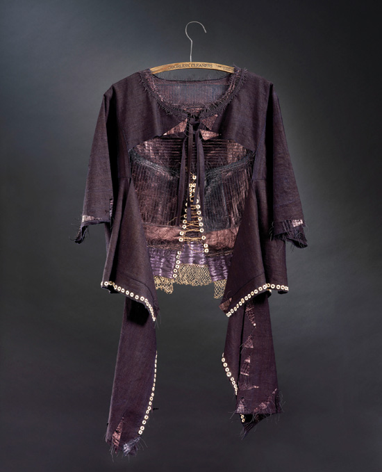 "Illuminated Warrior Corset & Tunic  (2006) mixed media, 24"" x 42"""