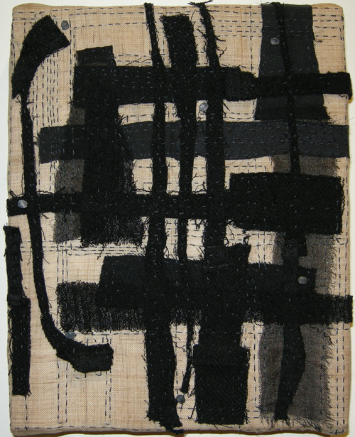 "Grid  (2011) Fiber: stitched cloth remains onto hemp, 8"" x 10"""