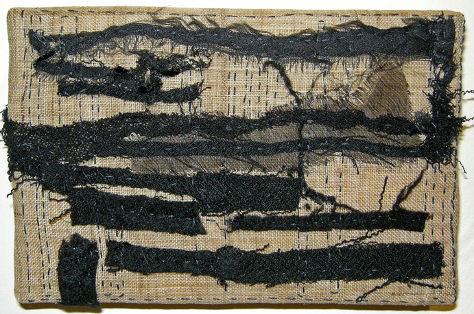"Horizon (2011) Fiber:  stitched cloth remains onto hemp, 4"" x 6"""