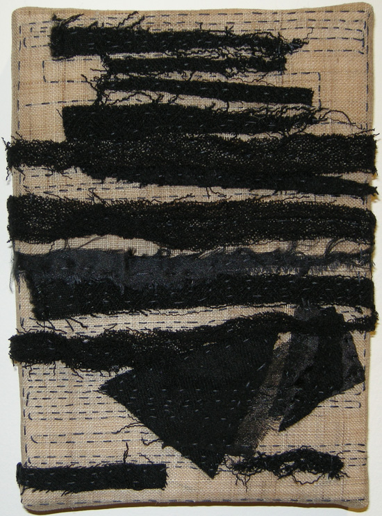 "Striation (2011) Fiber:  stitched cloth remains onto hemp, 5"" x 7"""