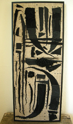 "Totem (2011) Fiber: stitched cloth remains onto hemp 12"" x 28"""
