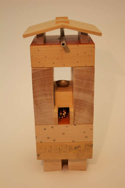 "Spirit House #12 (2012) Mixed media on wood, 4 1/2"" x 10 5/8"" x 5 1/2"""