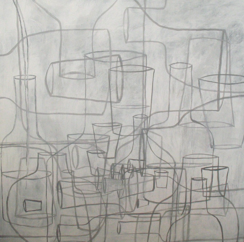 "Grey vesssels (2010) acrylic on canvas, 48"" x 48"""