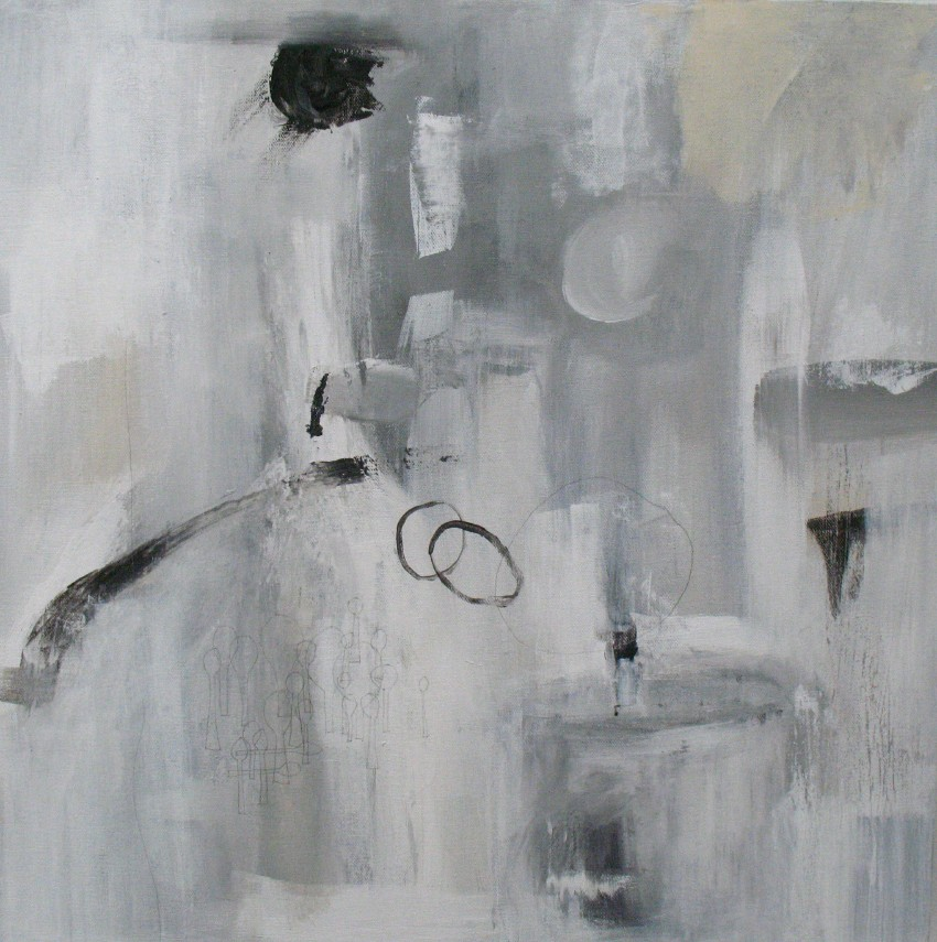 "Tendresse (2011) acrylic and graphite on canvas, 20"" x 20"""