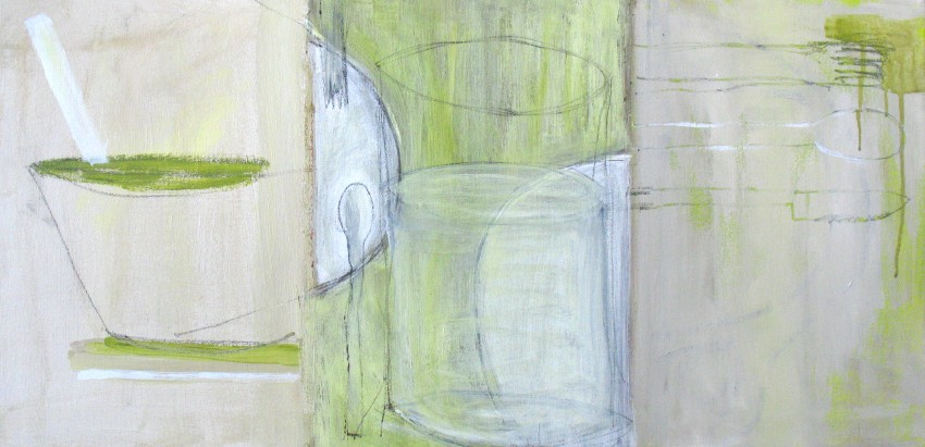 "tryptic with green drips (2008) acrylic on canvas with graphite, 15"" x 30"""