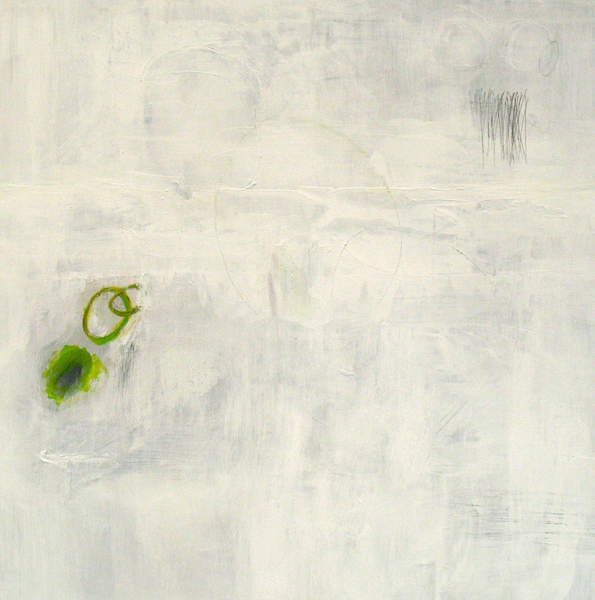 "What's left (2011) acrylic and graphite on board, 16"" x 16"""
