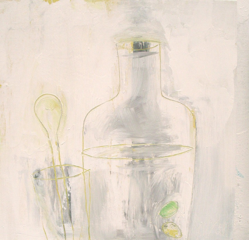 "Yellow spoon (2011) acrylic and graphite on wood, 12"" x 12"""